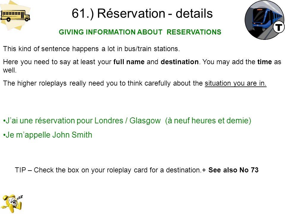 61.) Réservation - details