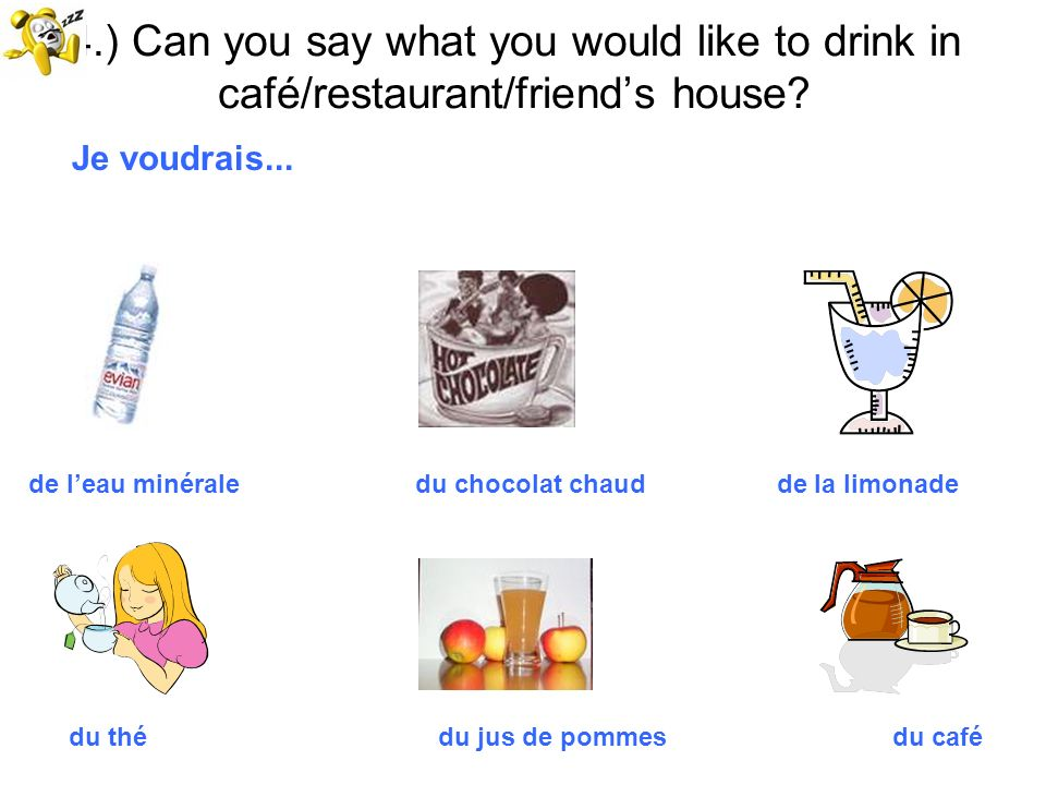 4.) Can you say what you would like to drink in café/restaurant/friend's house