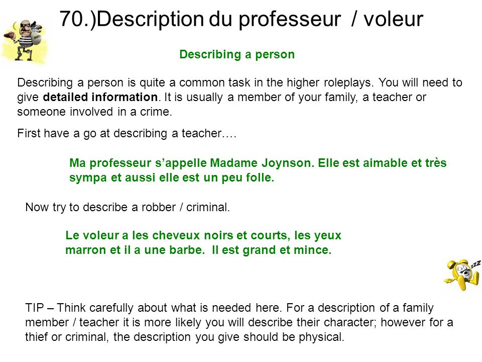 70.)Description du professeur / voleur