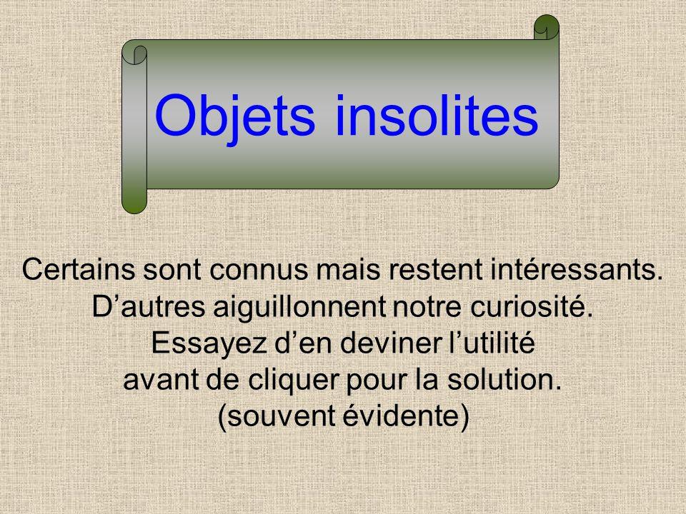 Objets insolites Certains sont connus mais restent intéressants. D'autres aiguillonnent notre curiosité.