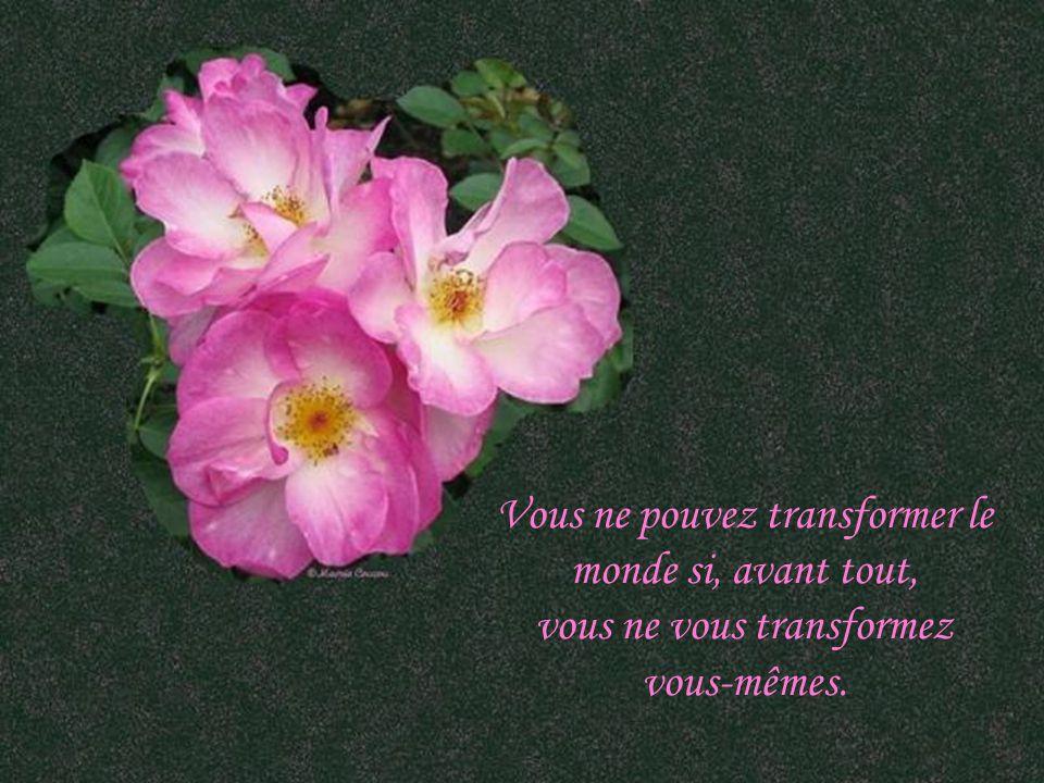 Vous ne pouvez transformer le monde si, avant tout, vous ne vous transformez vous-mêmes.