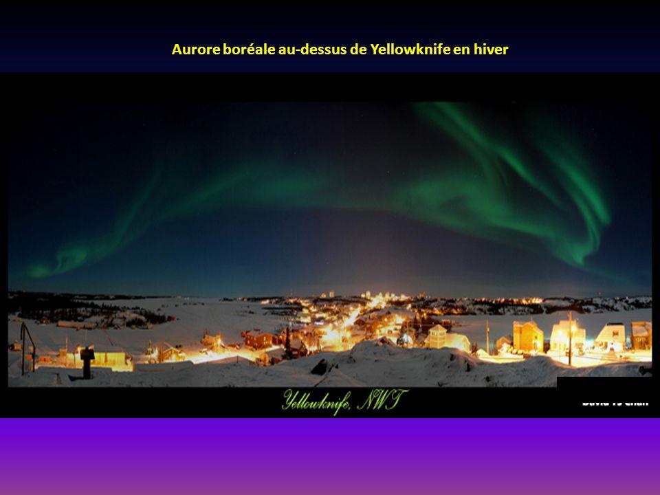 Aurore boréale au-dessus de Yellowknife en hiver