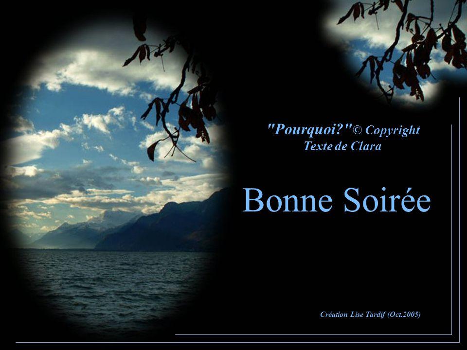 Bonne Soirée Pourquoi © Copyright Texte de Clara