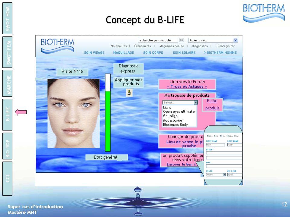 Concept du B-LIFE Fiche produit