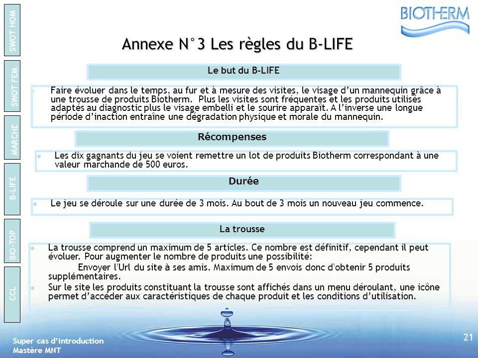 Annexe N°3 Les règles du B-LIFE