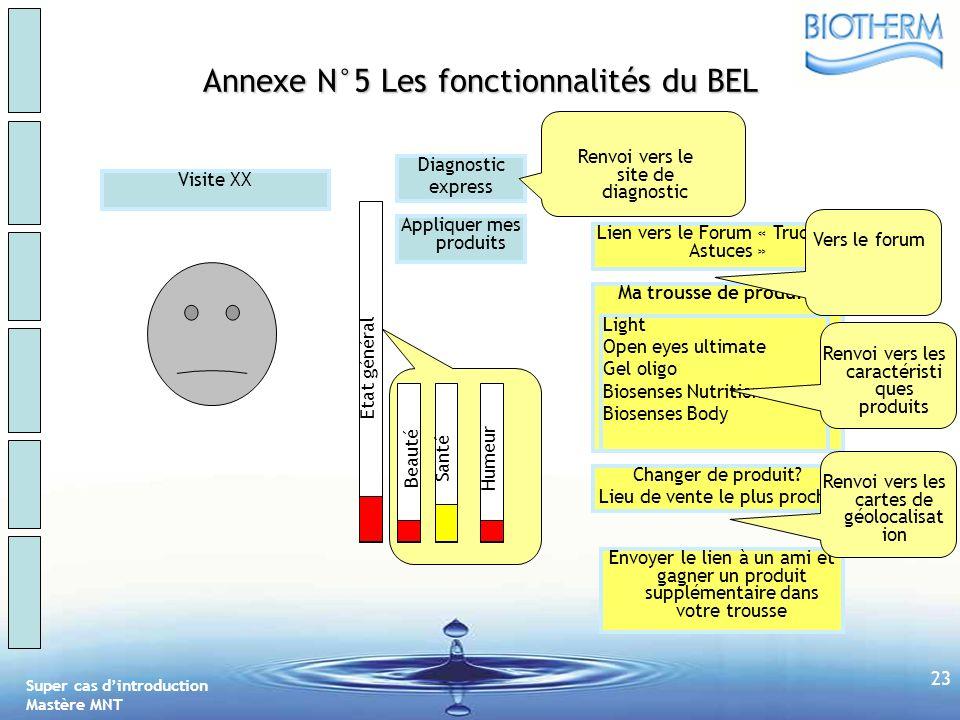 Annexe N°5 Les fonctionnalités du BEL