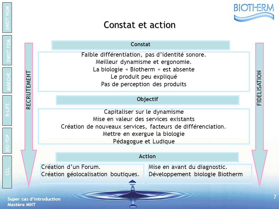 Constat et action Faible différentiation, pas d'identité sonore.