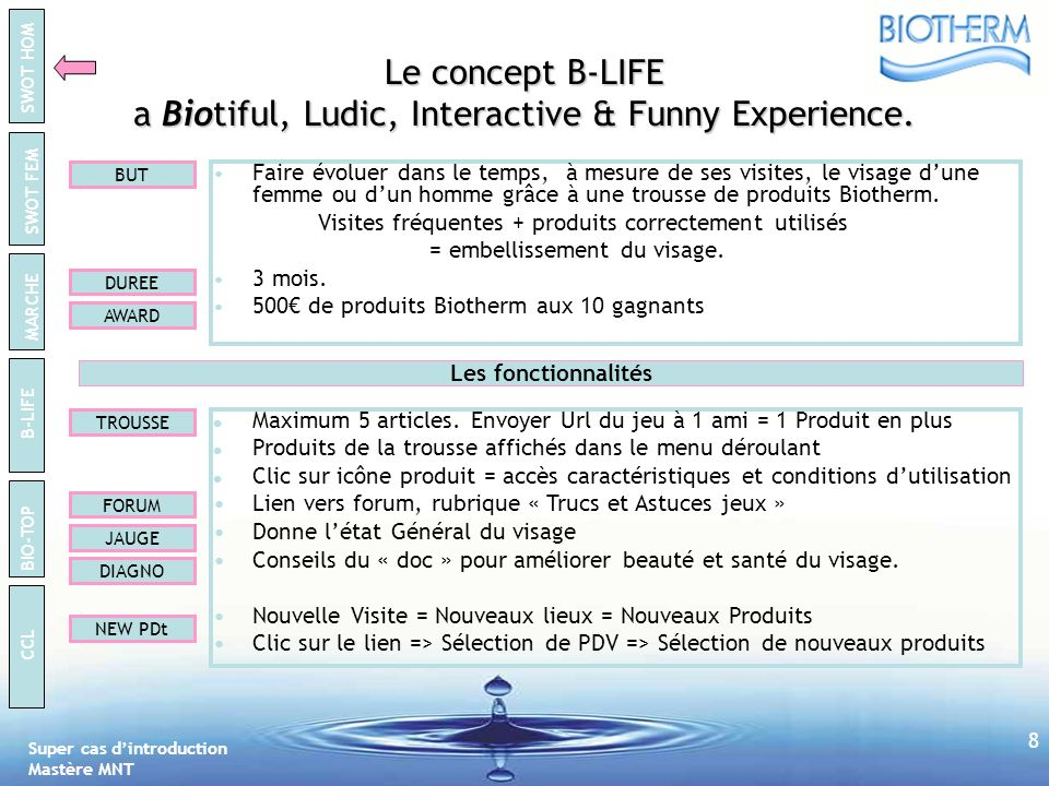 Le concept B-LIFE a Biotiful, Ludic, Interactive & Funny Experience.