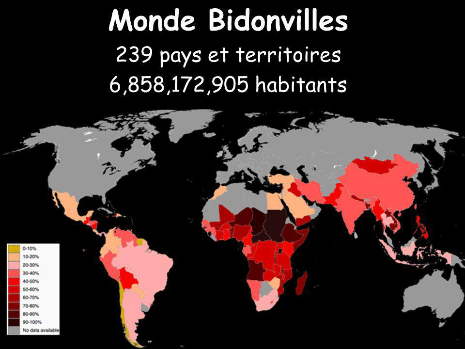 Monde Bidonvilles 239 pays et territoires 6,858,172,905 habitants