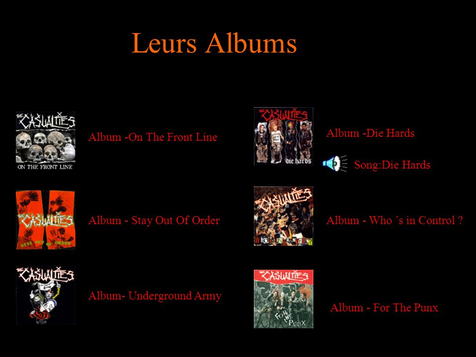 Leurs Albums Album -Die Hards Album -On The Front Line Song:Die Hards