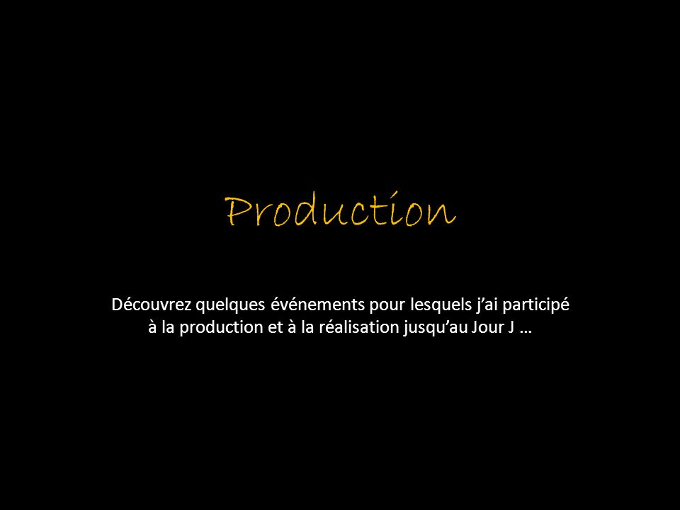 Production Découvrez quelques événements pour lesquels j'ai participé à la production et à la réalisation jusqu'au Jour J …