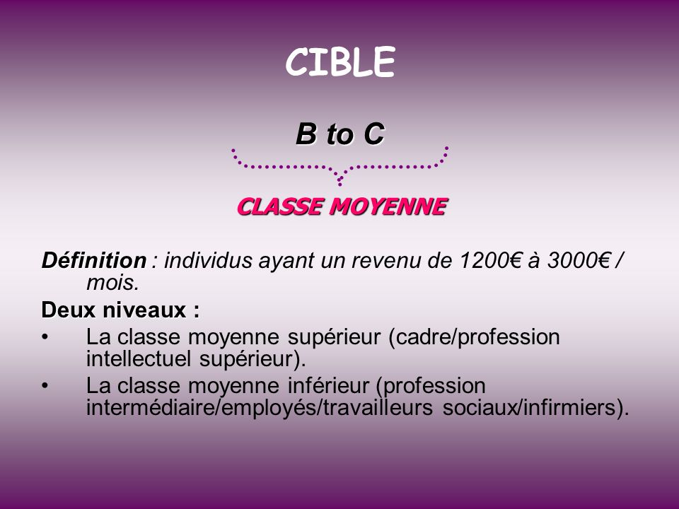 CIBLE B to C CLASSE MOYENNE