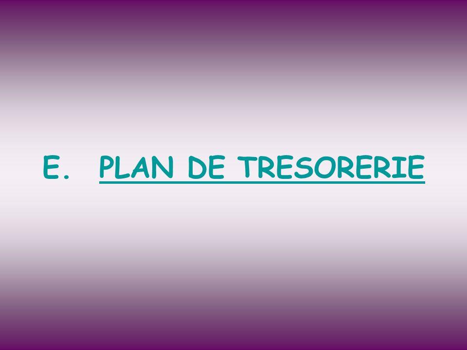 PLAN DE TRESORERIE