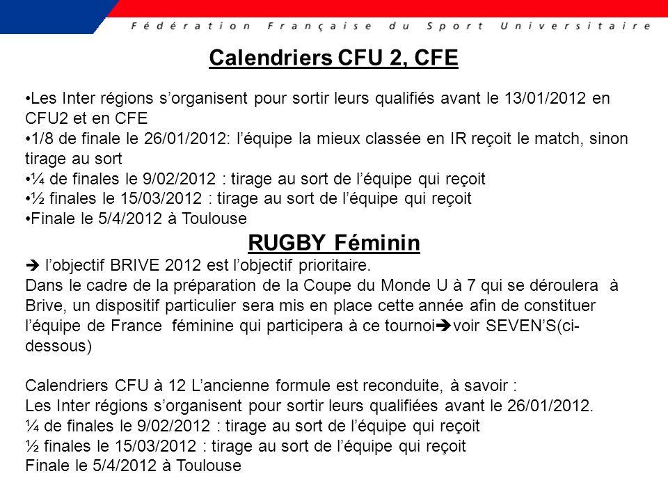 Calendriers CFU 2, CFE RUGBY Féminin