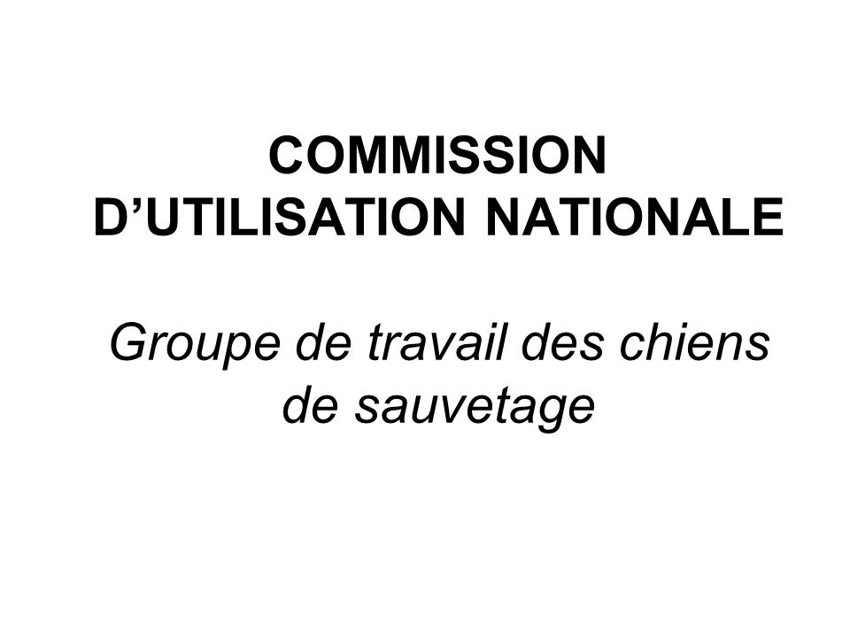 COMMISSION D'UTILISATION NATIONALE Groupe de travail des chiens de sauvetage