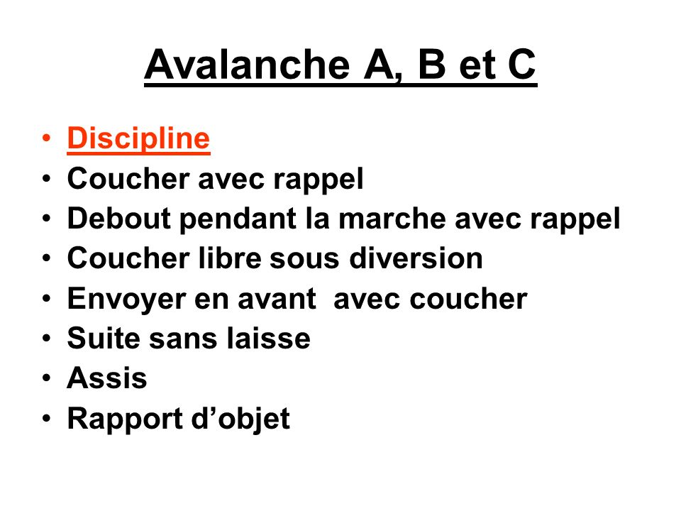 Avalanche A, B et C Discipline Coucher avec rappel