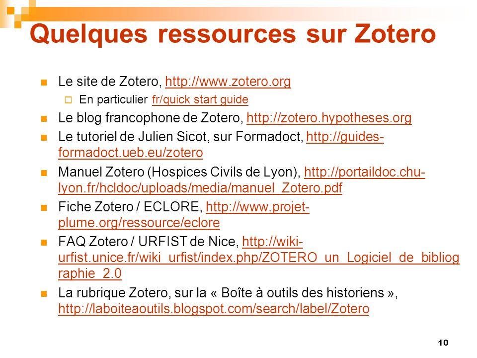 Quelques ressources sur Zotero