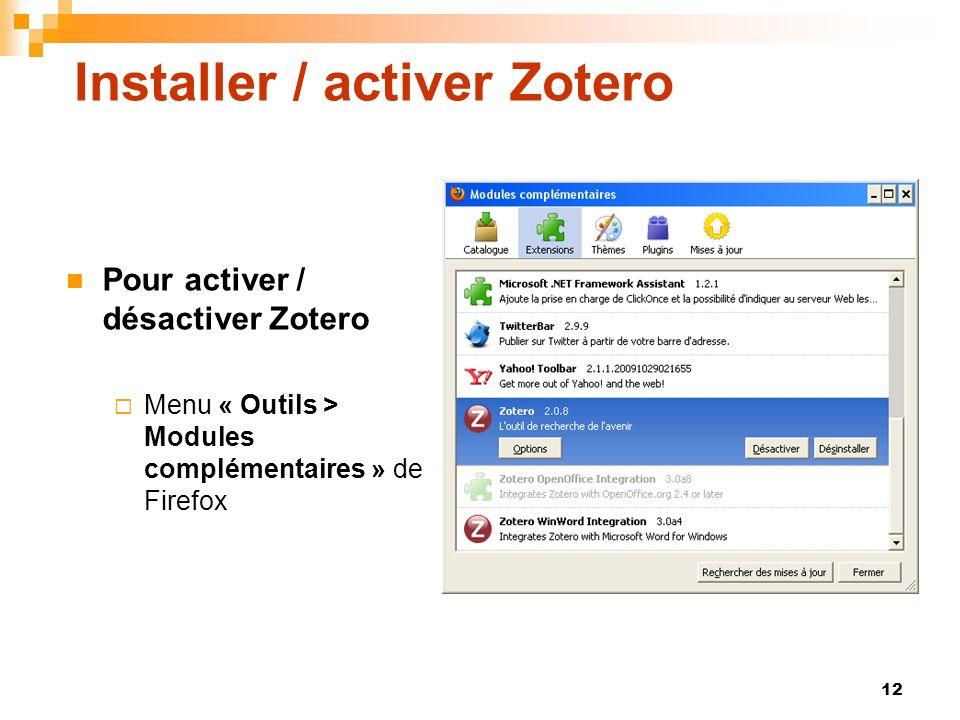 Installer / activer Zotero
