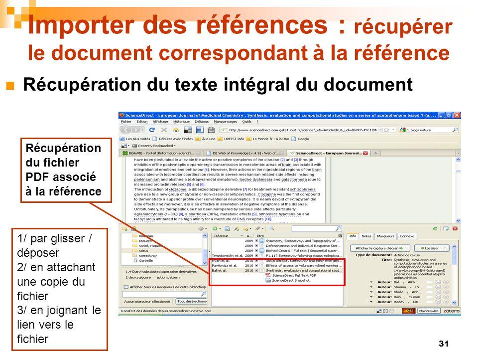Importer des références : récupérer le document correspondant à la référence