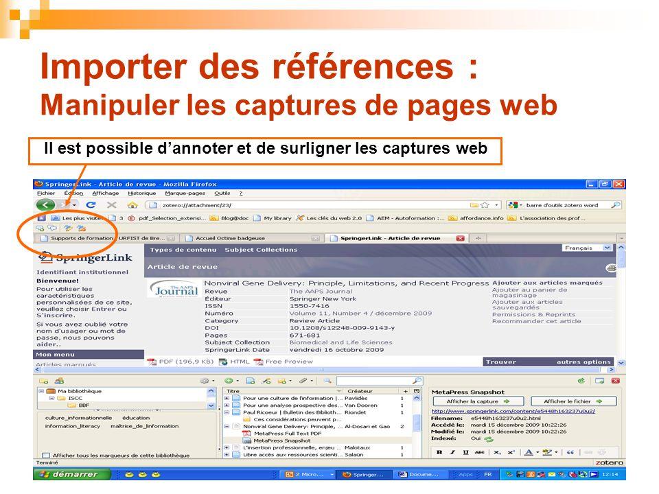 Importer des références : Manipuler les captures de pages web
