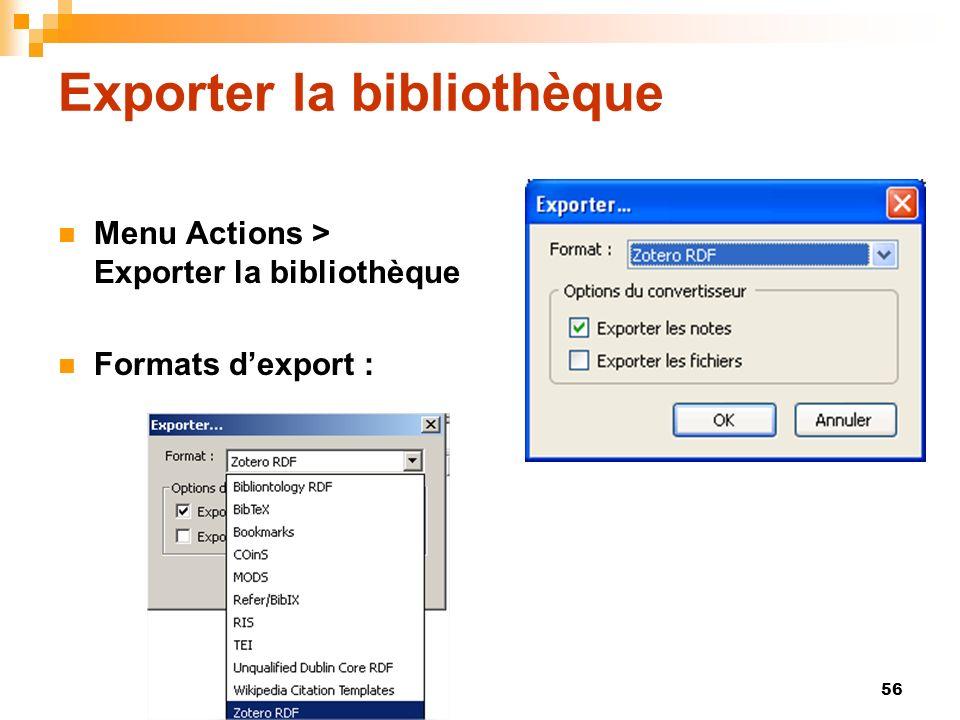 Exporter la bibliothèque