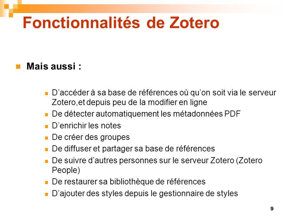 Fonctionnalités de Zotero