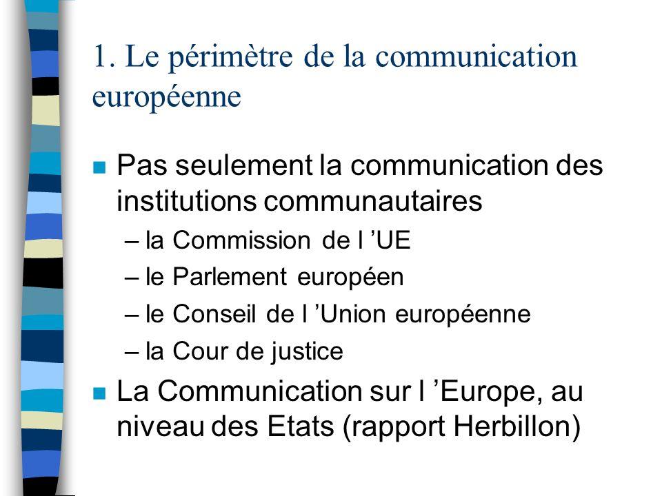 1. Le périmètre de la communication européenne