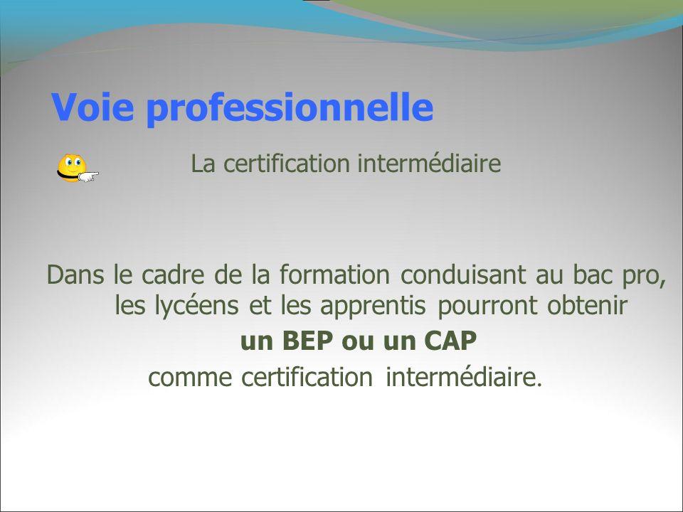 Voie professionnelle La certification intermédiaire.