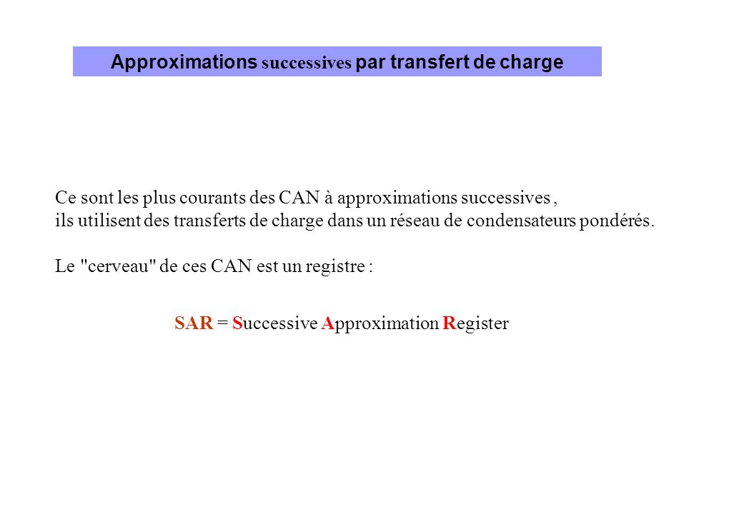 Approximations successives par transfert de charge