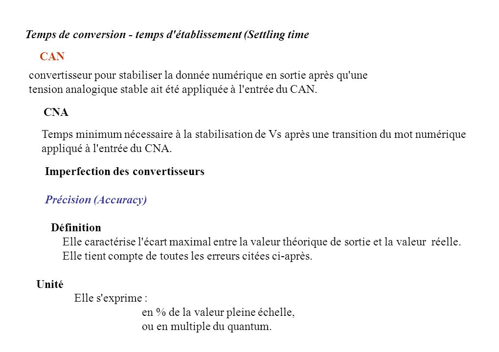 Temps de conversion - temps d établissement (Settling time