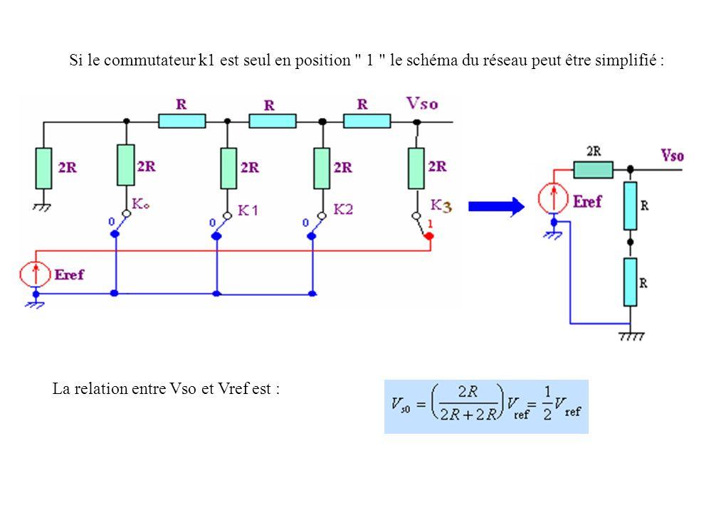 Si le commutateur k1 est seul en position 1 le schéma du réseau peut être simplifié :