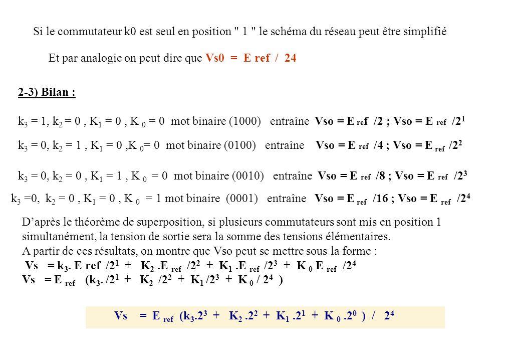 Si le commutateur k0 est seul en position 1 le schéma du réseau peut être simplifié