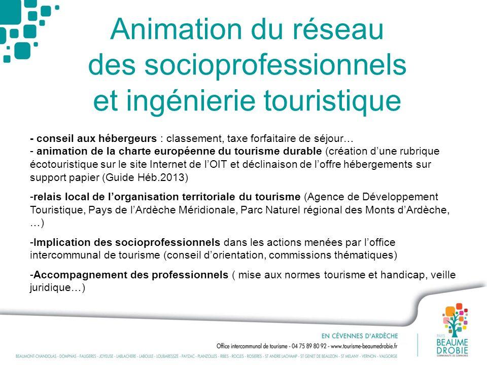 Animation du réseau des socioprofessionnels et ingénierie touristique