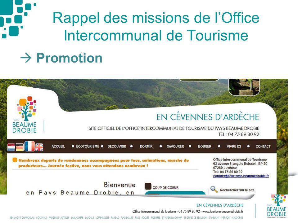 Rappel des missions de l'Office Intercommunal de Tourisme
