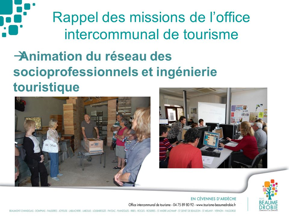 Rappel des missions de l'office intercommunal de tourisme