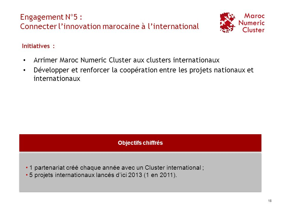 Engagement N°5 : Connecter l'innovation marocaine à l'international