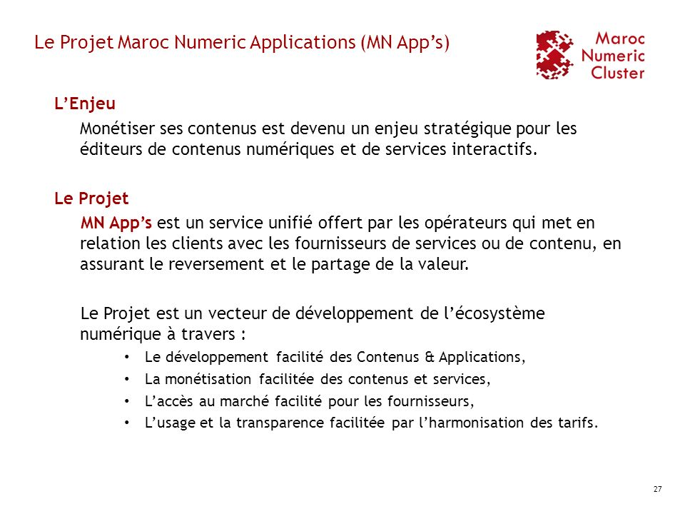 Le Projet Maroc Numeric Applications (MN App's)