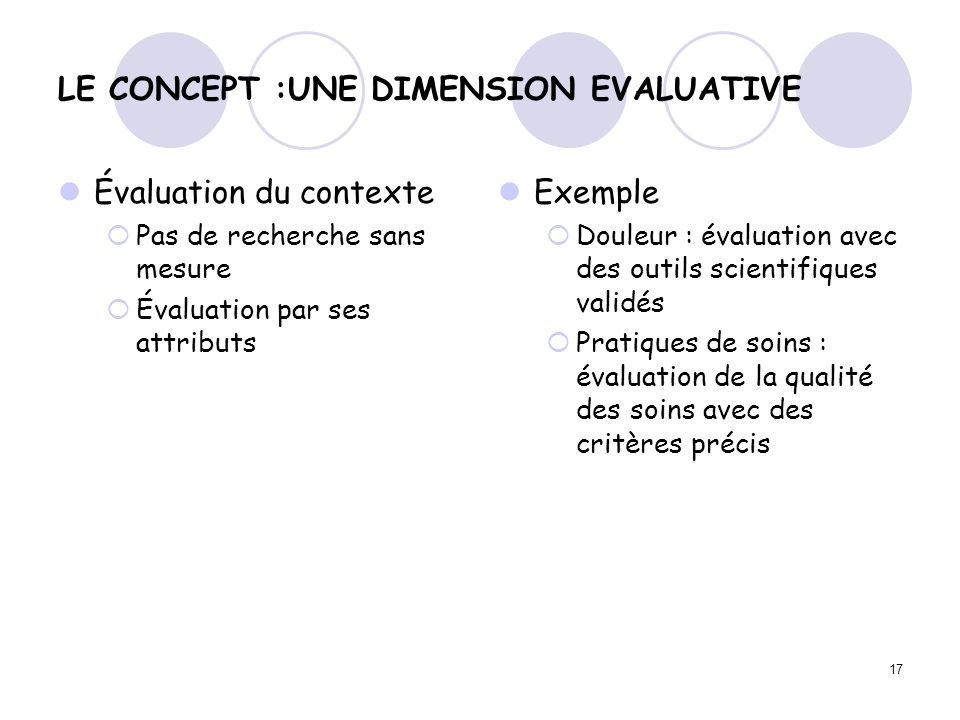 LE CONCEPT :UNE DIMENSION EVALUATIVE