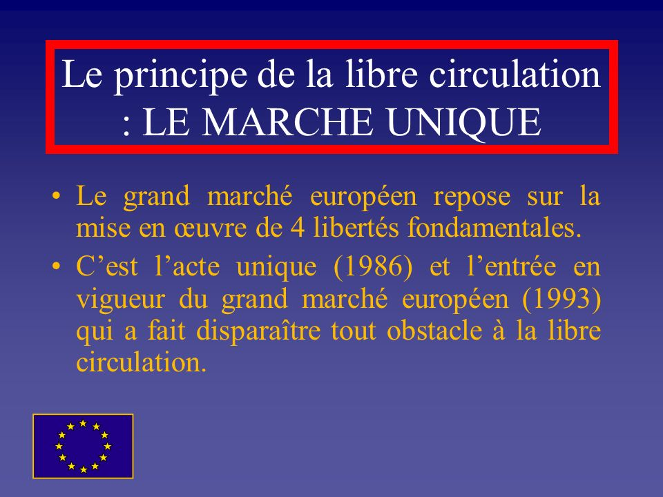 Le principe de la libre circulation : LE MARCHE UNIQUE