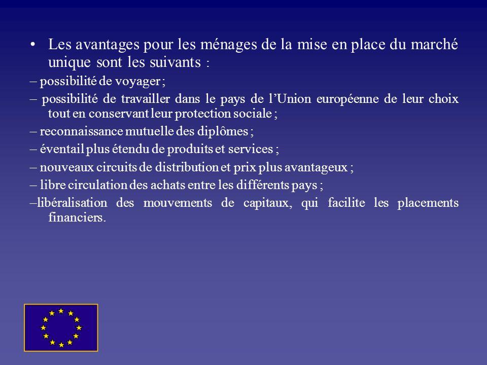 Les avantages pour les ménages de la mise en place du marché unique sont les suivants :