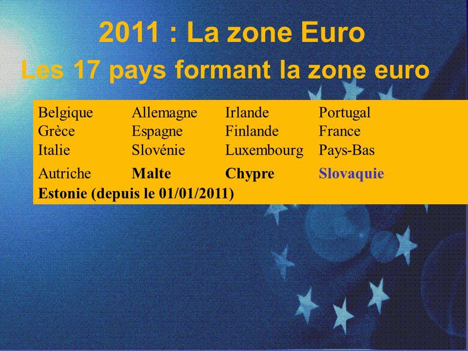 2011 : La zone Euro Les 17 pays formant la zone euro