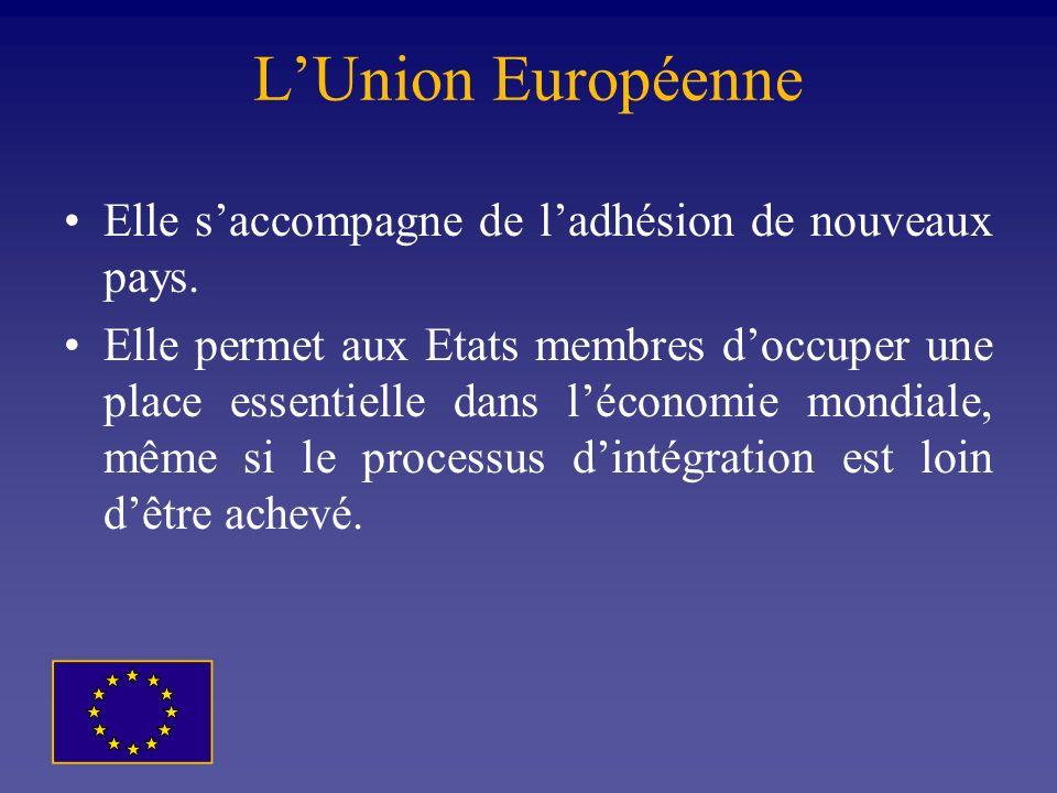 L'Union Européenne Elle s'accompagne de l'adhésion de nouveaux pays.
