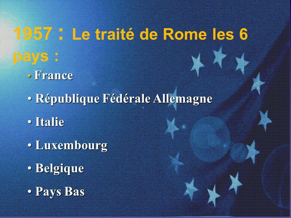 1957 : Le traité de Rome les 6 pays :