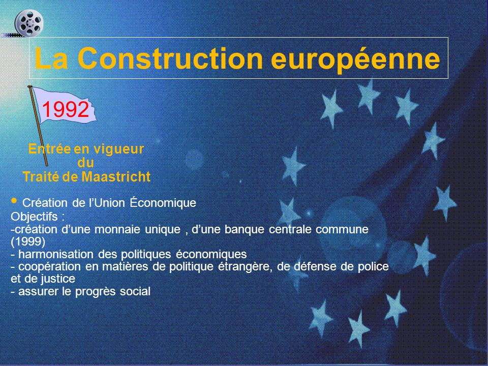Entrée en vigueur du Traité de Maastricht