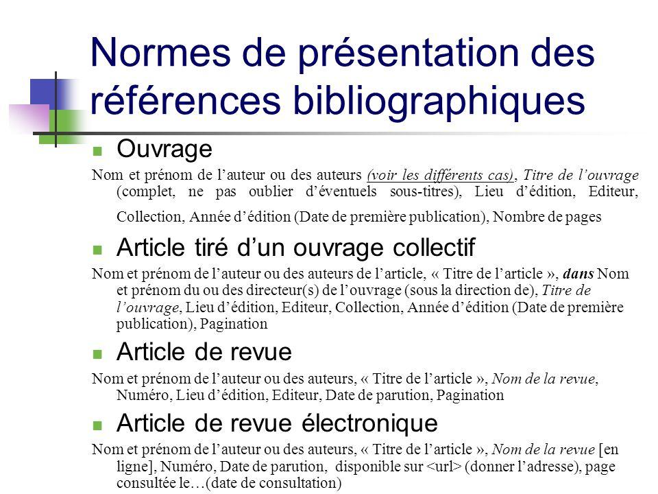 Normes de présentation des références bibliographiques