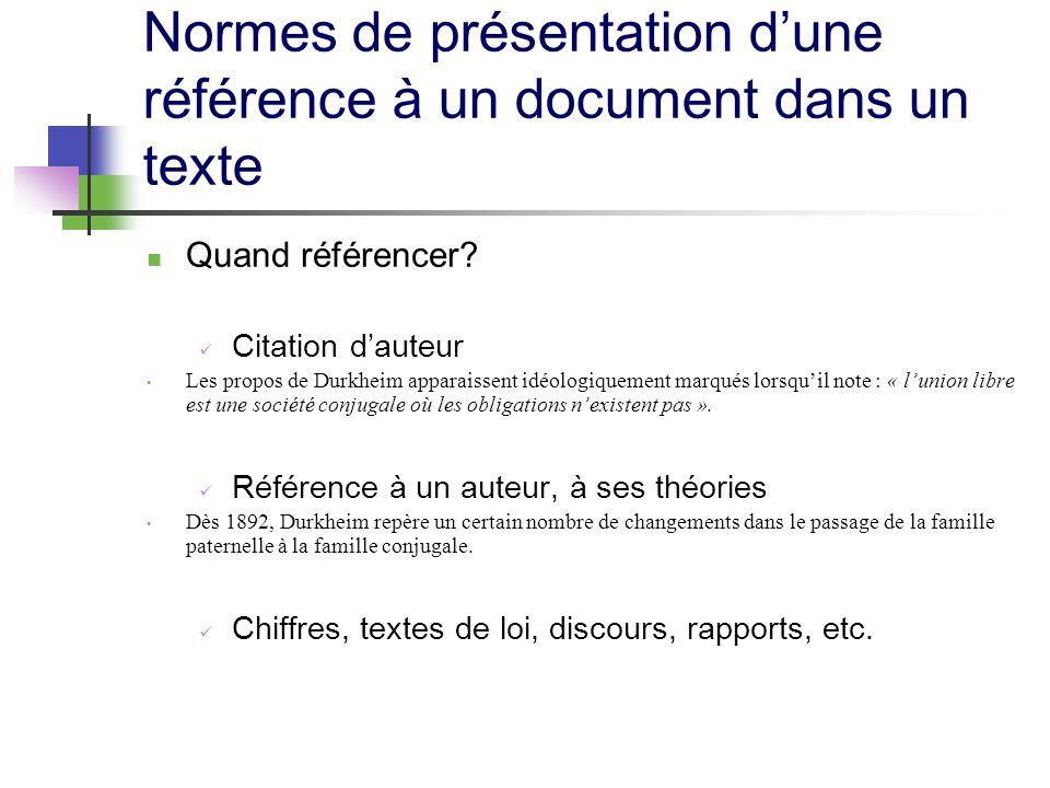 Normes de présentation d'une référence à un document dans un texte