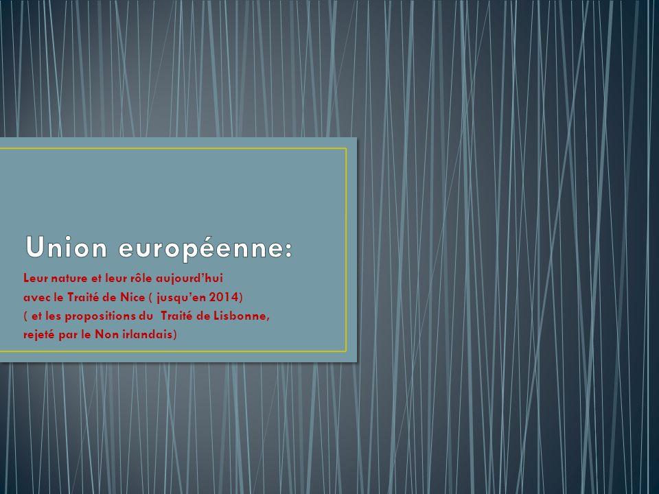 Union européenne: Leur nature et leur rôle aujourd'hui