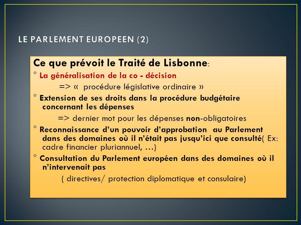 LE PARLEMENT EUROPEEN (2)