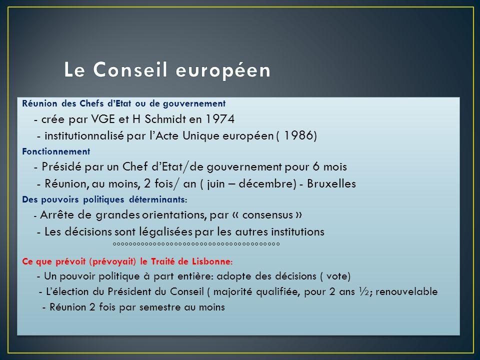 Le Conseil européenRéunion des Chefs d'Etat ou de gouvernement. - crée par VGE et H Schmidt en 1974.