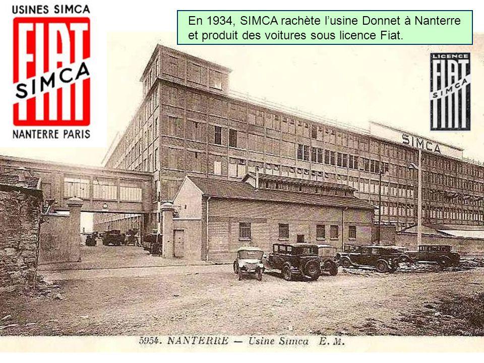 En 1934, SIMCA rachète l'usine Donnet à Nanterre et produit des voitures sous licence Fiat.